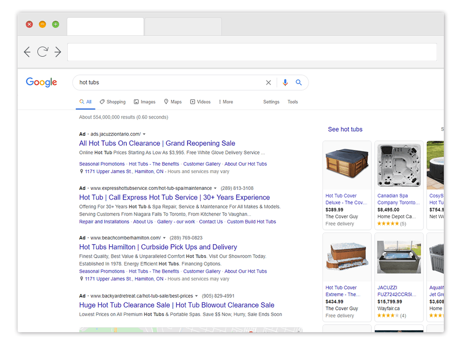 google ads results