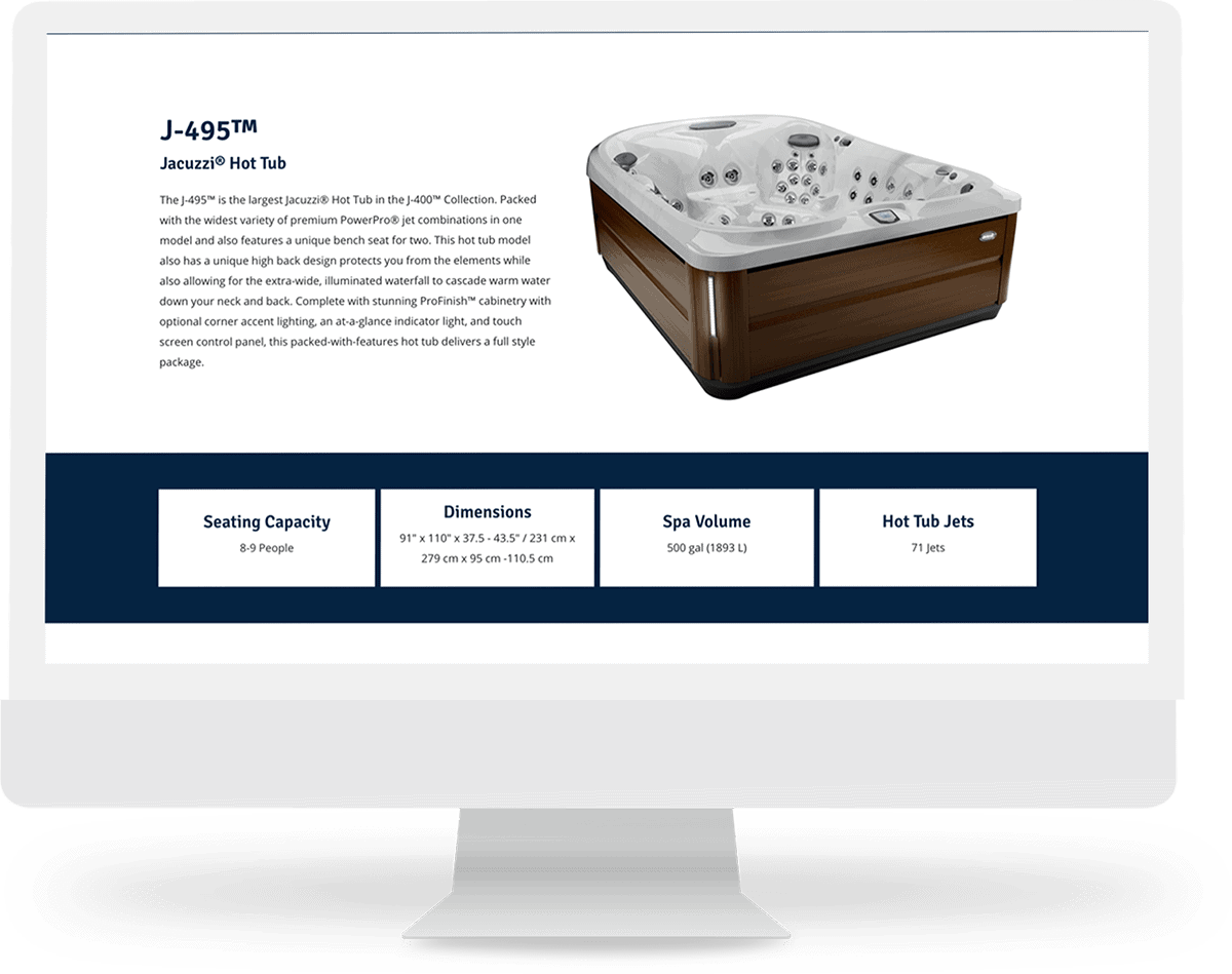 hot tub model page design