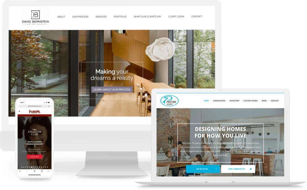 mockup of home builder and developer websites